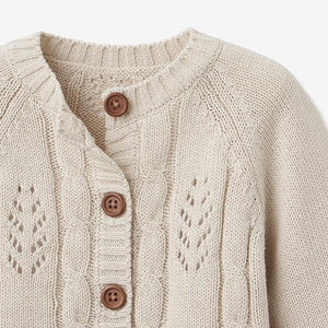 Leaf Pointelle Knit Baby Cardigan: Wheat, Sage & Blush