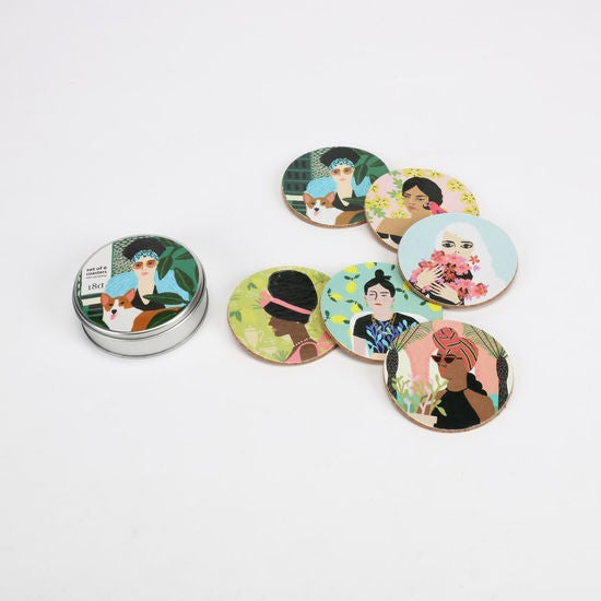 Set of 6 Women Coasters