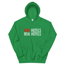 Load image into Gallery viewer, FAKE HOTELS - REAL HOTELS Unisex Hoodie - dark