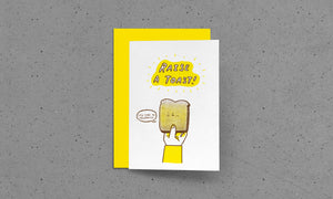 Raise A Toast - Riso Printed Greeting Card