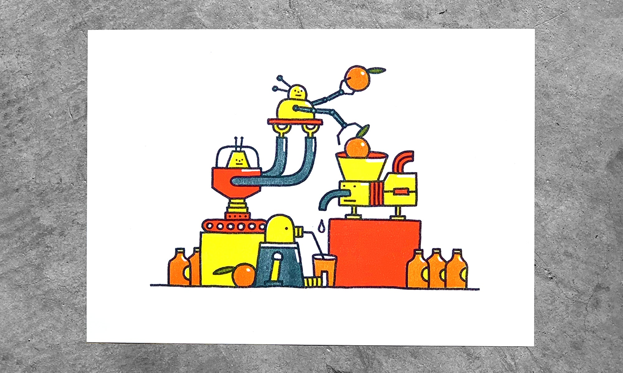 Busy Robots - A4 Riso Print