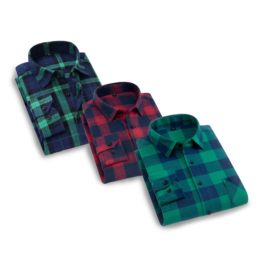 Pack of 3 checked casual shirts