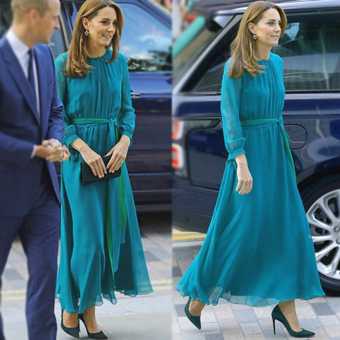 Kate Middleton Long Dress High Quality New Women'S Fashion Workplace Party Sexy Vintage Elegant Chic Long Sleeve Chiffon Dresses