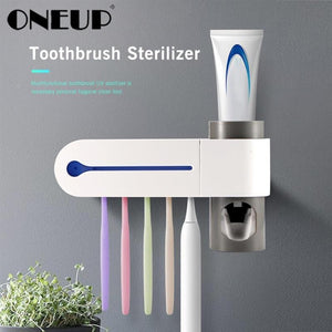 UV Light Toothbrush Holder & Sterilizer and Automatic Toothpaste Dispenser DelicateMe