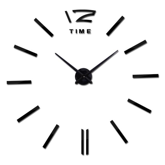 Modern Frameless Wall Clock DelicateMe Black 47inch