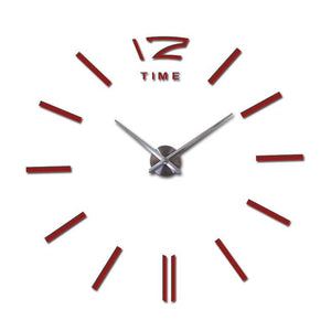 Modern Frameless Wall Clock DelicateMe Red 47inch