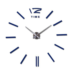 Modern Frameless Wall Clock DelicateMe Blue 47inch