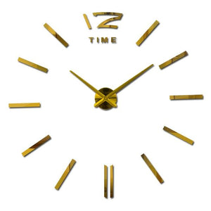 Modern Frameless Wall Clock DelicateMe Gold 47inch
