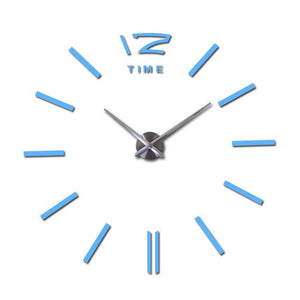 Modern Frameless Wall Clock DelicateMe Sky Blue 47inch