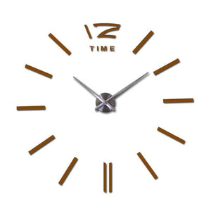 Modern Frameless Wall Clock DelicateMe Chocolate 47inch