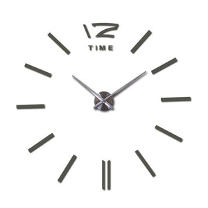 Modern Frameless Wall Clock DelicateMe Dark Gray 47inch