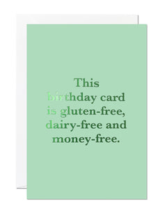 Money-Free Birthday Card (Pack of 6)