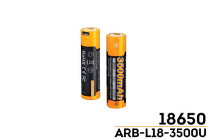 Fenix Arb-L18 3500 USB Rechargeable Li-ion 18650 Battery