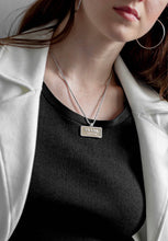 Load image into Gallery viewer, Prada Silver & Beige Logo Necklace