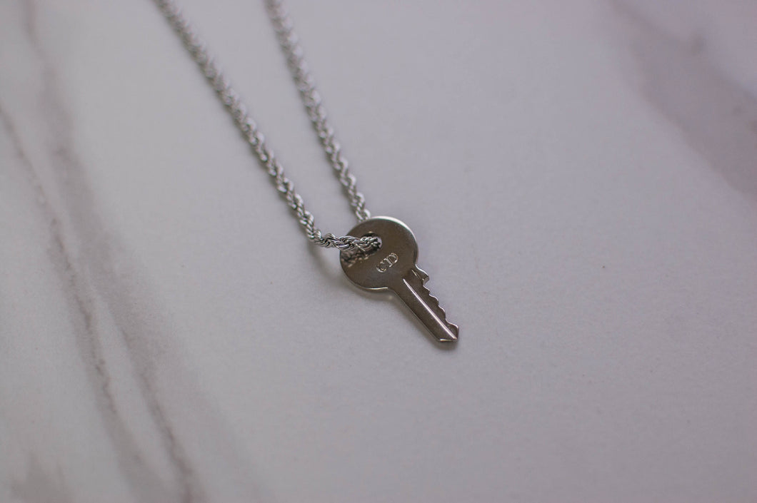 Silver Dior Key Necklace