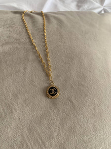 Chanel Dainty Black Button Necklace