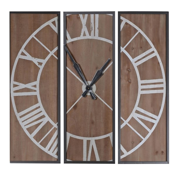 3 Piece Wood Plaque Wall Clock