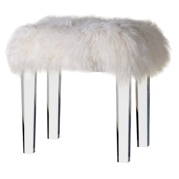 Acrylic and Mongolian Fur Stool