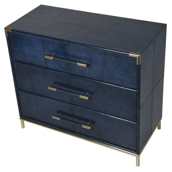 Deep Blue Suede 3 Drawer Chest