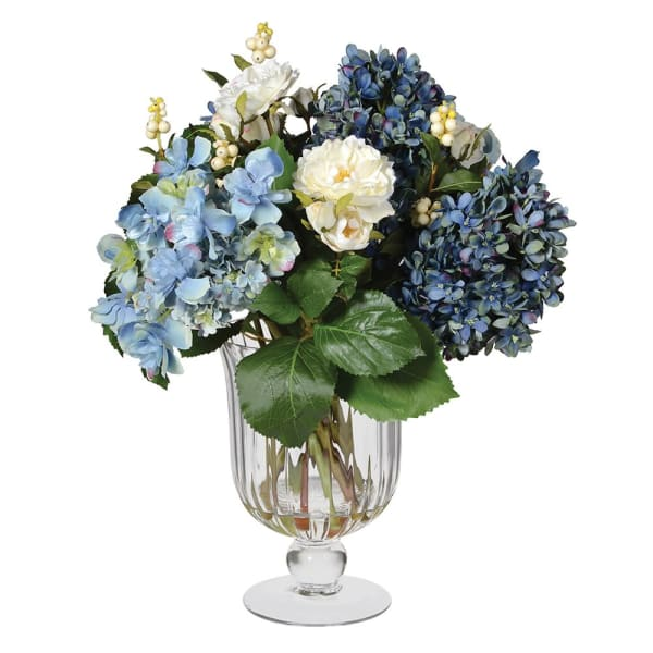 Blue Rose and Hydrangea Arrangement