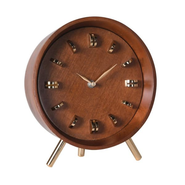 Brass and Wood Table Top Clock