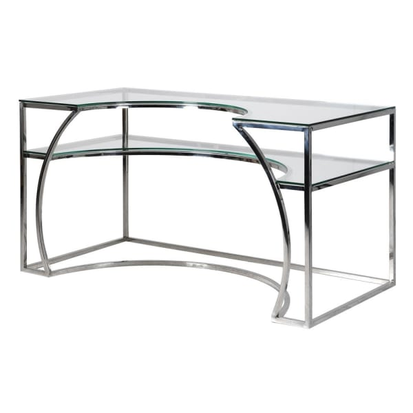 Deco Stainless Steel and Glass Desk