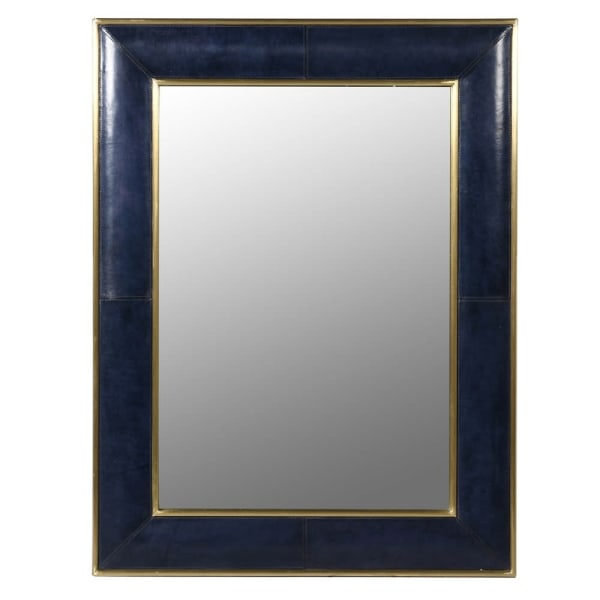 Deep Blue Leather Mirror
