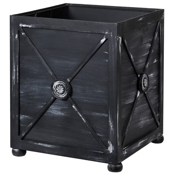 Distressed Black Iron Planter