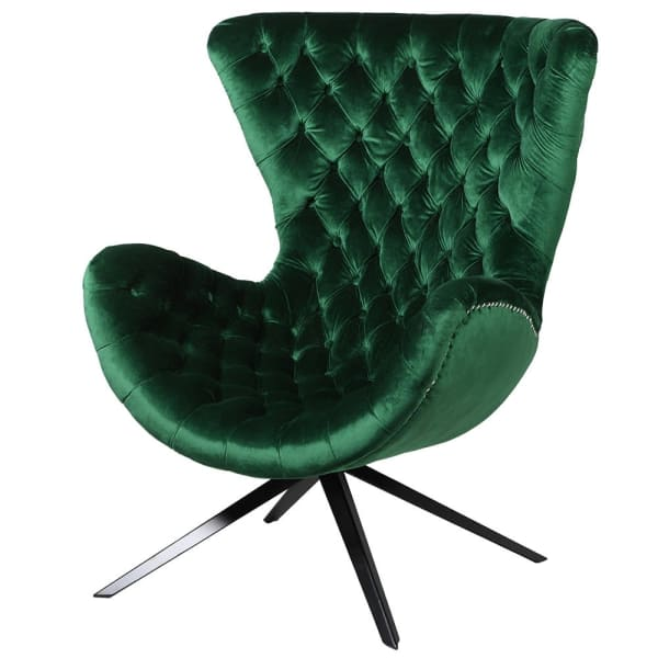 Emerald Green Curved Buttoned Occasional Chair