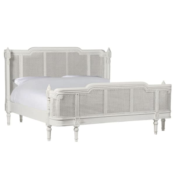 French Curved Rattan Super King Size Bed