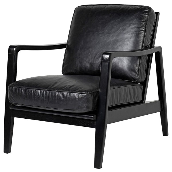 Jasper Black Leather Buckle Occasional Chair