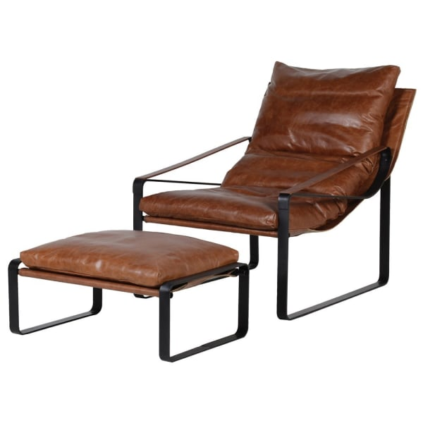 Mattise Brown Leather Relaxer Occasional Chair and Stool