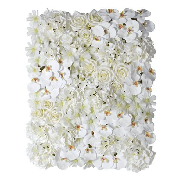 Mixed White Flower Panel with Orchid, Hydrangea and Rose