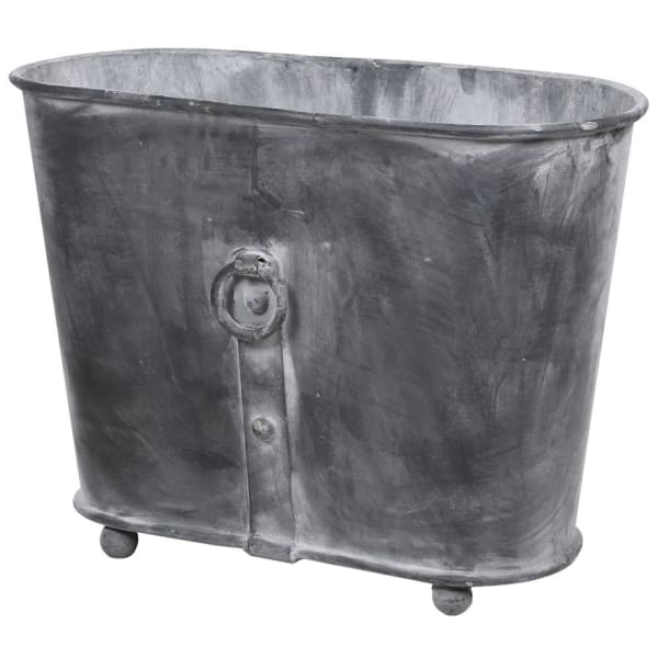 Oval Iron Planter with Ring