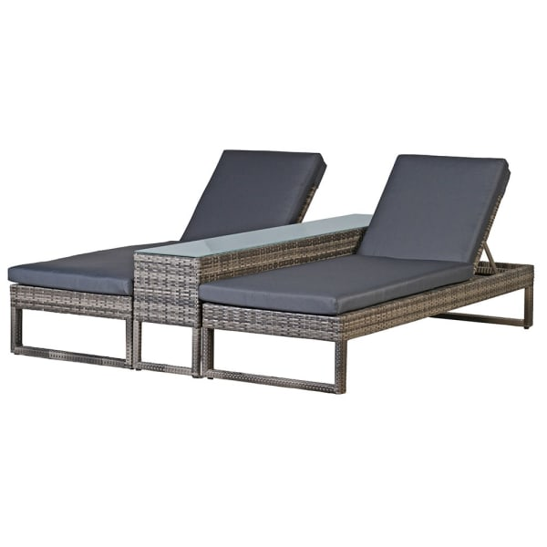 Rattan Three Piece Lounger Set