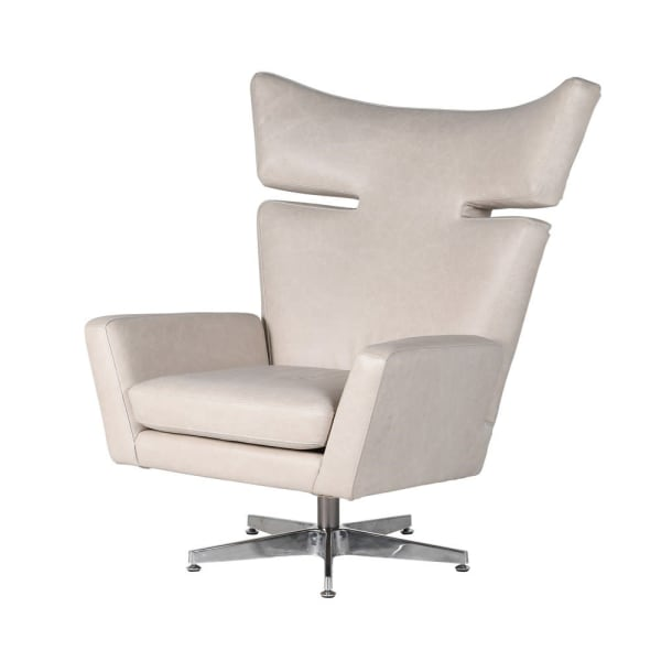 Retro Leather Swivel Occasional Chair