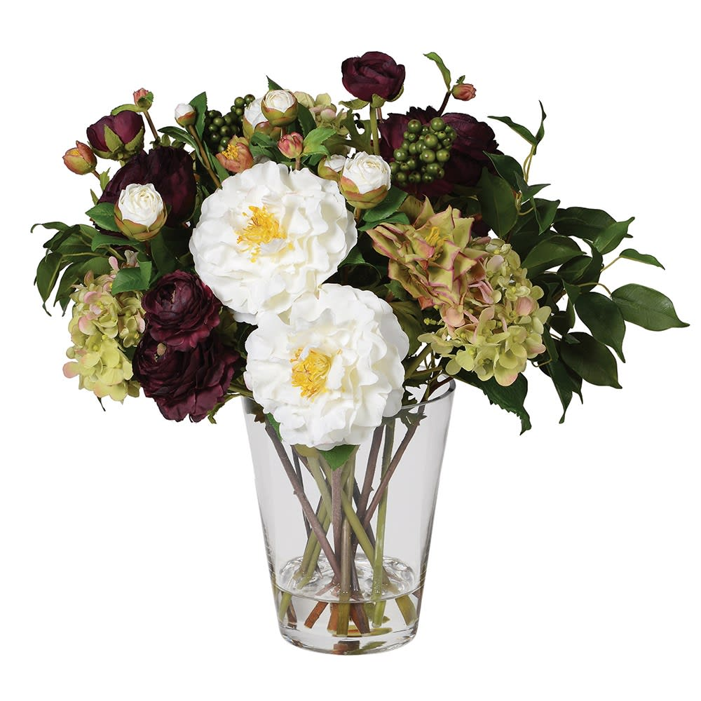 Ruby, White and Greens Contrast Floral Arrangement