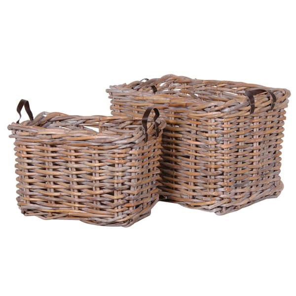 Set of 2 Large Rectangular Rattan Baskets