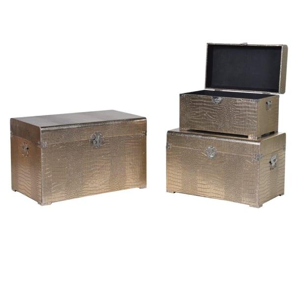 Set of 3 Gold Crocodile Effect Trunks