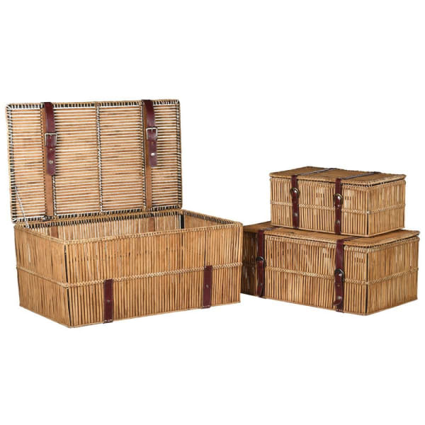 Set of 3 Square Baskets with Straps