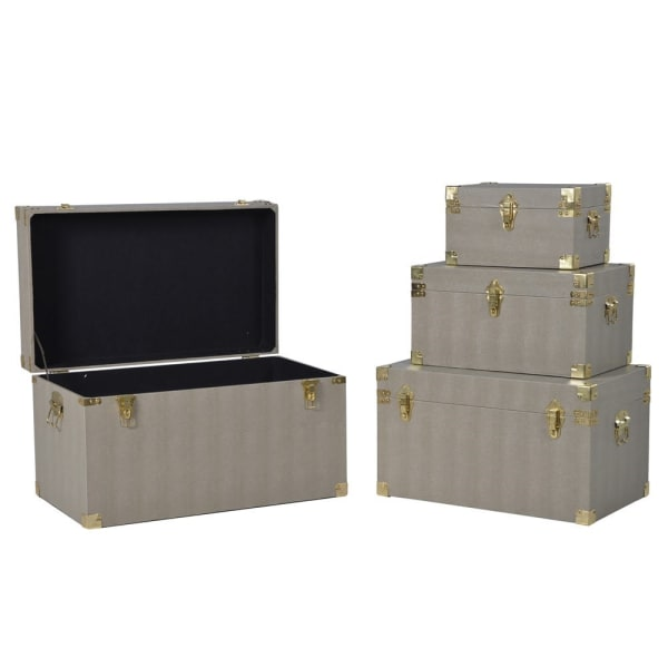 Set of 4 Beige Storage Trunks