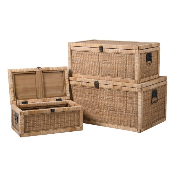 Set of Three Rattan Trunks