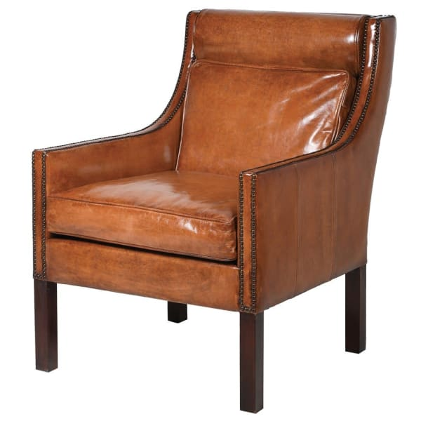 Sidney Brown Leather Occasional Chair