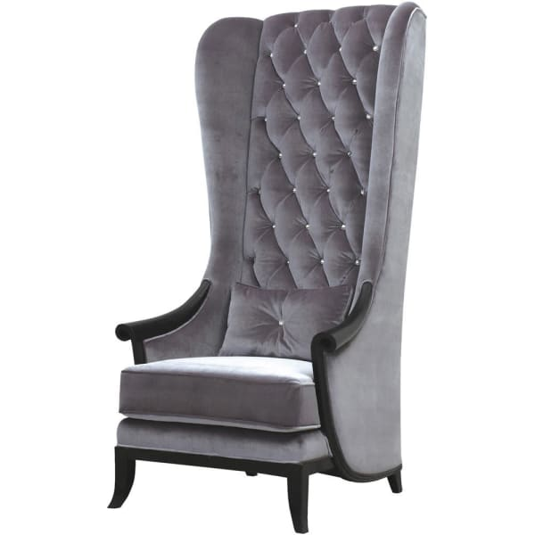 Silver Jewelled Tall Back Buttoned Porter's Occasional Chair