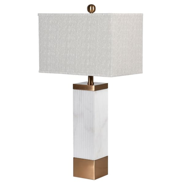 White Marble Table Lamp with Bronze Finish