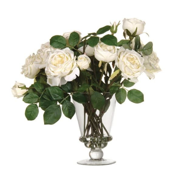 White Mixed Garden Rose Arrangement