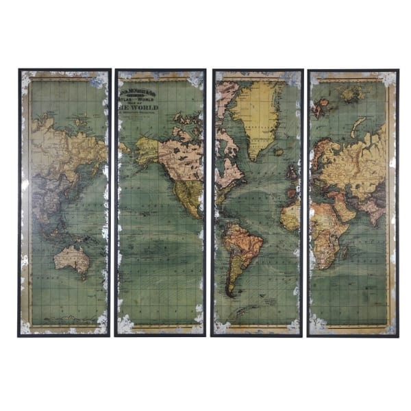 World Map - Four Pieces