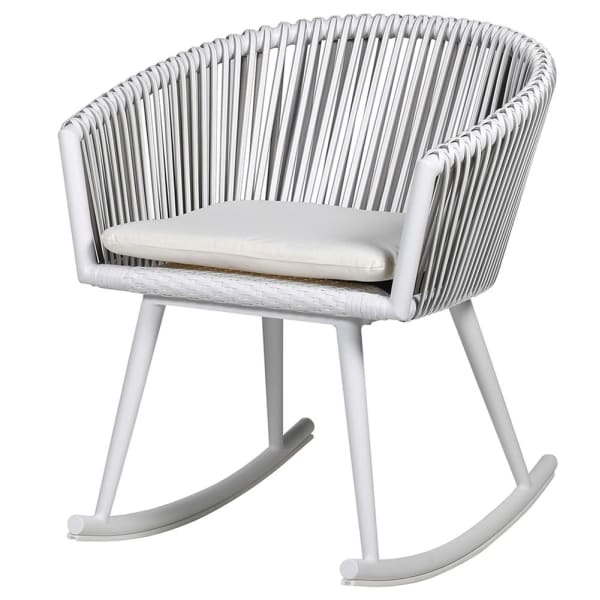 Woven White Rocking Chair