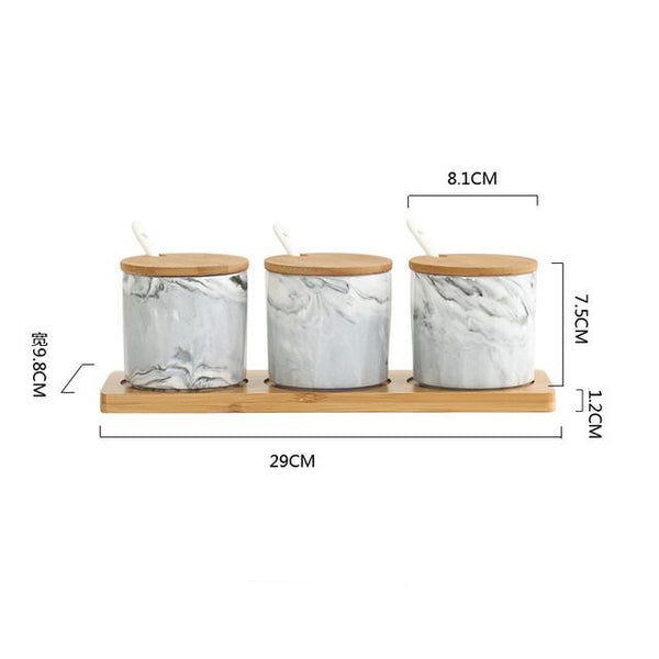 Simplicity Style Set Ceramica Condiment Pot Wood Frame Can Be Hang On The Wall
