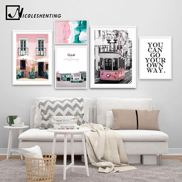 Pink Tram Vintage Canvas Wall Art